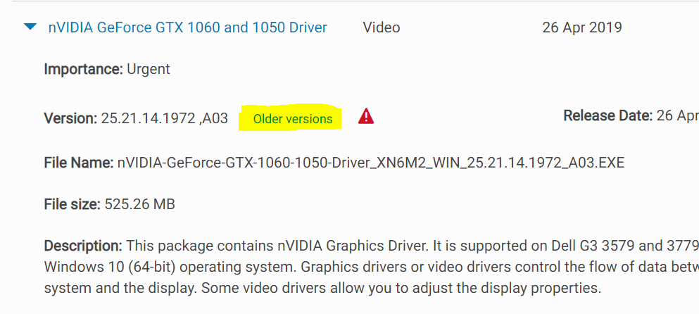 Dell G3 3779 (P35E003) Nvidia 1050 driver crashes with external
