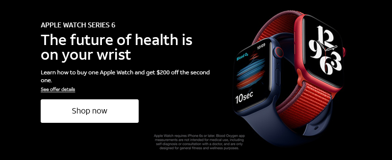 APPLE WATCH SERIES 6.  The future of health is on your wrist.  Shop now.